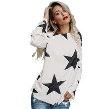 2017 FASHION Women Girl Strapless Star Sweatshirt Long Sleeve Crop Jumper Pullover Tops Y92230