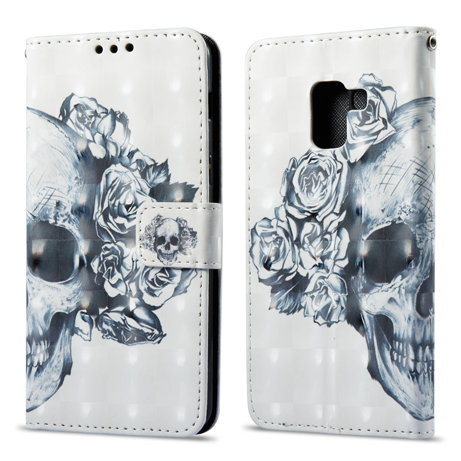 Phone Case For Fundas Samsung Galaxy A6 A7 A8 J4 J6 Plus J7 J8 J3 J2 2018 Wallet Cover Flip Leather Flower Ghost Skull Capa D03G in Flip Cases from Cellphones Telecommunications