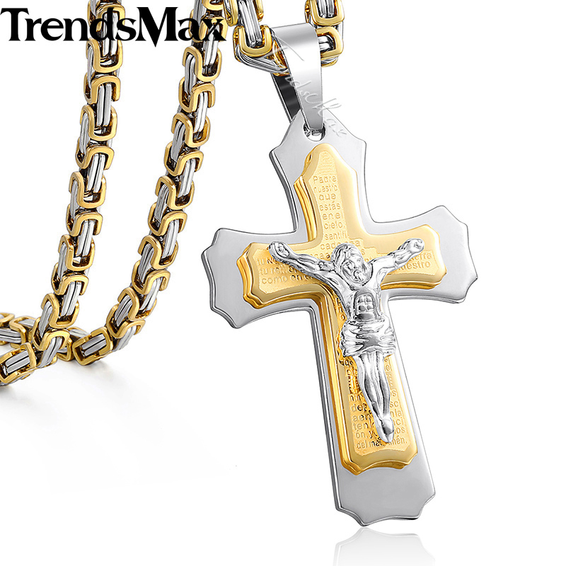 Trendsmax Jesus Cross Pendant Necklace For Men Gold Silver Stainless Steel Byzantine Box Chain Necklace Men Jewelry Gift KPM141 crucifixo pingente de ouro masculino