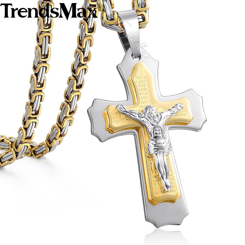Trendsmax Jesus Cross Pendant Necklace For Men Gold Silver Stainless Steel Byzantine Box Chain Necklace Men Jewelry Gift KPM141 equte pssm92c5 fashionable men s titanium steel glass pendant necklace blue silver