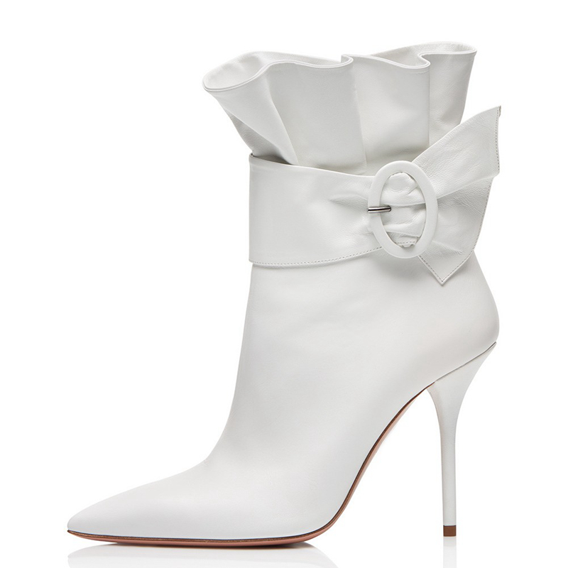 High Quality Women Boots 2018 Kid Suede Leather Booties Casual Shoes Mid Calf Boots For Ladies White Red Wedding Shoes TL A0127 in Mid Calf Boots from Shoes