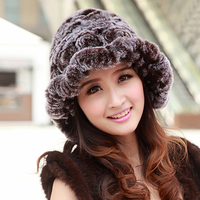 Winter Fur Hats Women Soft Warm Natural Rex Rabbit Fur Caps With Flowers Real Fur Hat