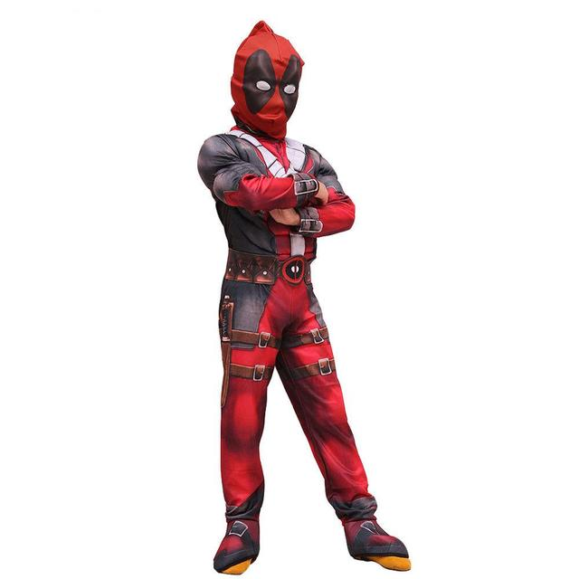 Marvel Deadpool Costume Jumpsuit Mask Cosplay Costume Kids Children