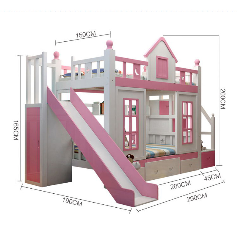 13  0128TB006 Fashionable kids bed room furnishings princess fortress with slide storages cupboard stairs double kids mattress HTB1WaNvo8TH8KJjy0Fiq6ARsXXax