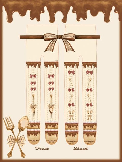 Princesa doce lolita meia calça para altura 150 - 168 cm japonês seção de borboleta faca e garfo meia calça impressão LKW39