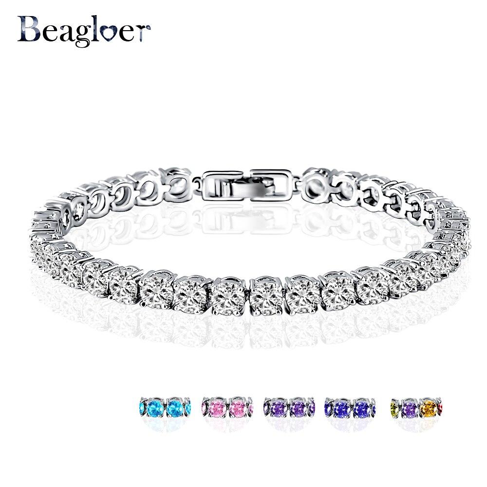 Prix pour Beagloer De Mariage Bracelet Zircon Bijoux Haute Qualité AAA Ronde 0.5 Carat Créé Diamant Charme De Tennis Bracelet CBR0005-B