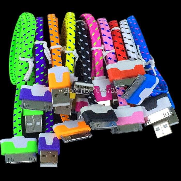 imágenes para Paquetes de Accesorios de tela Trenzada 1 M los 3ft Fideos cable Plano Para el iphone 4 4S