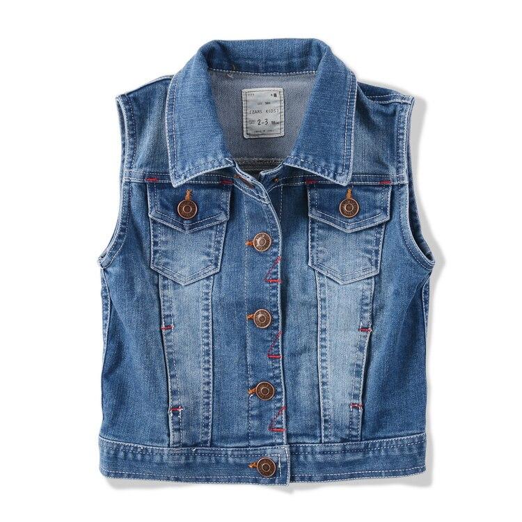 ФОТО High-quality brand  Children's clothing spring autumn child denim  child pure cotton vest baby BOY casual child denim vest