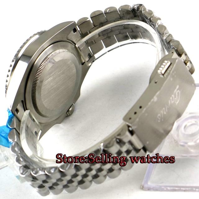 40mm PARNIS black dial Batman ceramic bezel date GMT automatic mens watch jubilee bracelet Sapphire Mens Luxury Watch