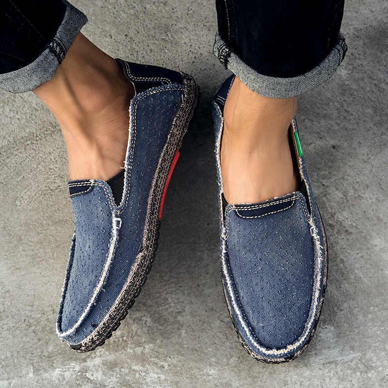 ZUNYU/парусиновые лоферы; мужская повседневная обувь без застежки; сезон лето; Новинка 2019 года; дышащая модная мягкая обувь для вождения на плоской подошве; размеры 39-47