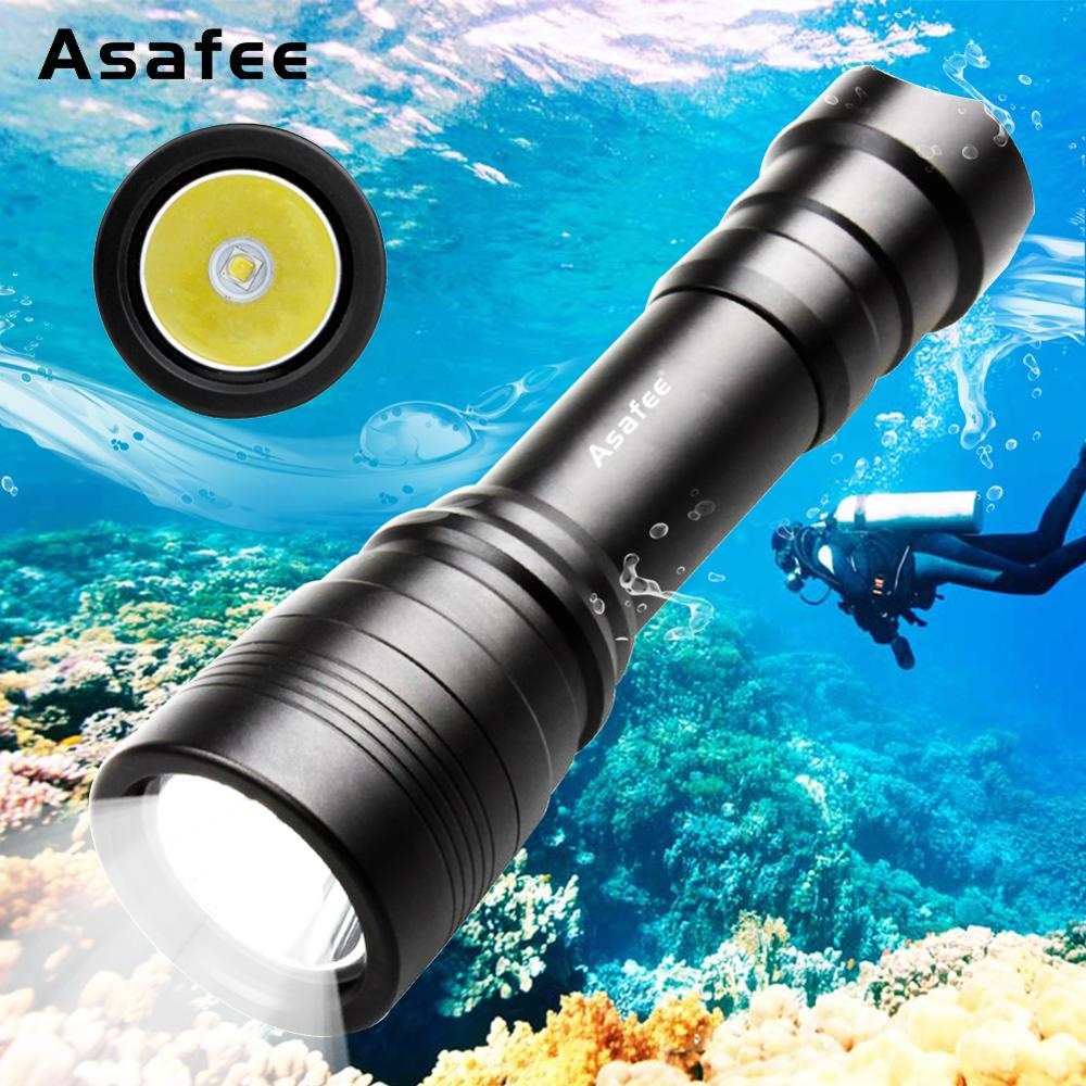 Asafee DIV11 Handy Diver Flashlight XM L2 (U4) LED Scuba Diving Torch Waterproof Daily 18650 Dive Backup Light