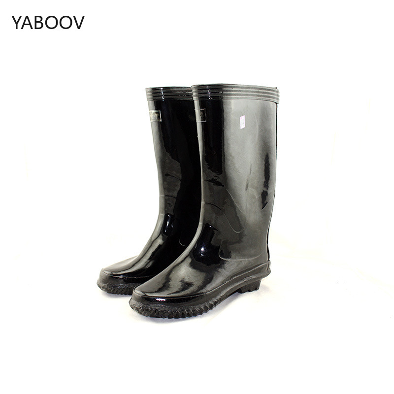 Men Rain Boots Man Outdoor Work Shoes Male Knee High Rubber Boots Anti-Slip Garden Man Waterproof Slip on Durable Rainboots image