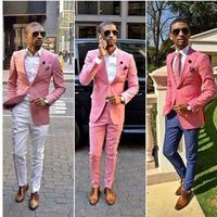 Peaked LapelTwo Buttons Pink 2Pieces(Jacket Pant Tie)High Quality Slim Fit Tailed Made Terno Masculino Fashion Tuxedos Handsome