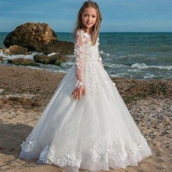 3432540752d0ee7 Роскошные Белые Платья с цветочным узором для девочек на свадьбу, кружевное  платье с аппликацией, платья для первого причастия, праздничное.