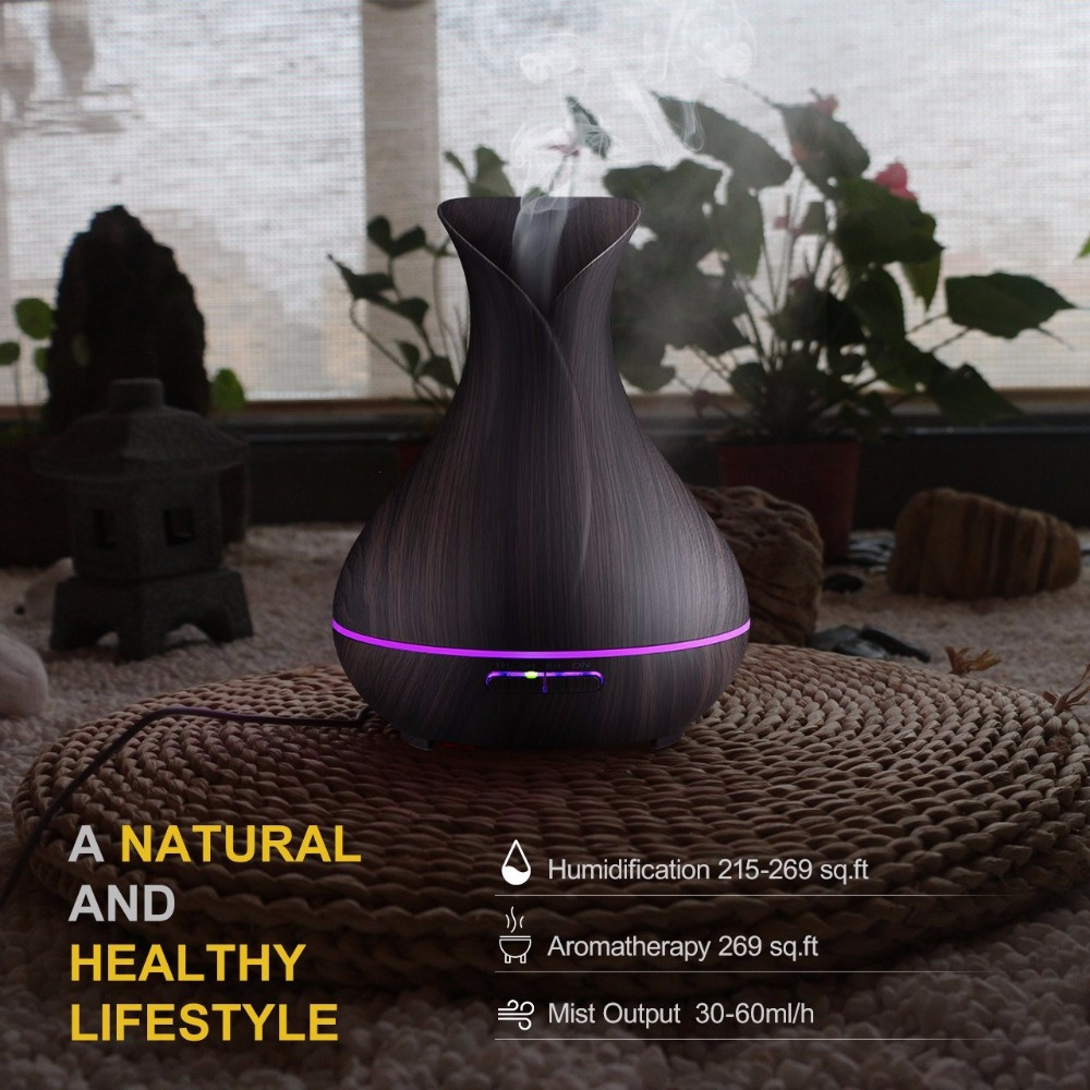 Купить с кэшбэком Vase Shape Essential Oil Diffuser 500ML Air Humidifier Wood Grain 7 Color LED Light Ultrasonic Cool Mist Maker Aroma Diffuser
