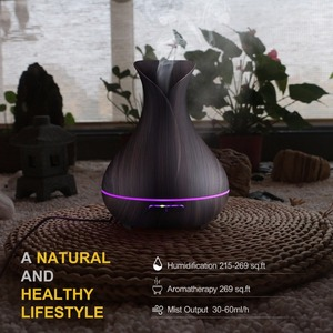 Image 5 - Vase Shape Essential Oil Diffuser 500ML Air Humidifier Wood Grain 7 Color LED Light Ultrasonic Cool Mist Maker Aroma Diffuser
