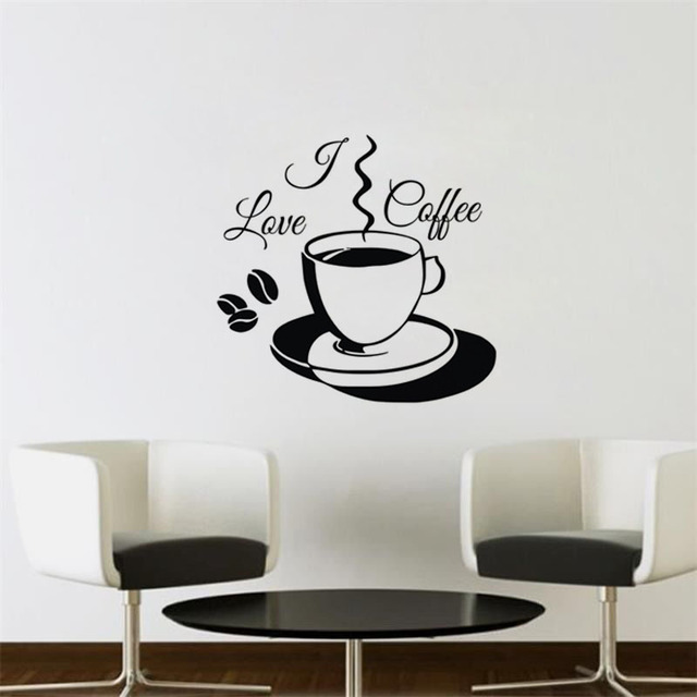 I Love Coffee Wall Stickers Decoration For Home Vinyl Art Wall Decals Kitchen Office Cafe Wall & I Love Coffee Wall Stickers Decoration For Home Vinyl Art Wall ...