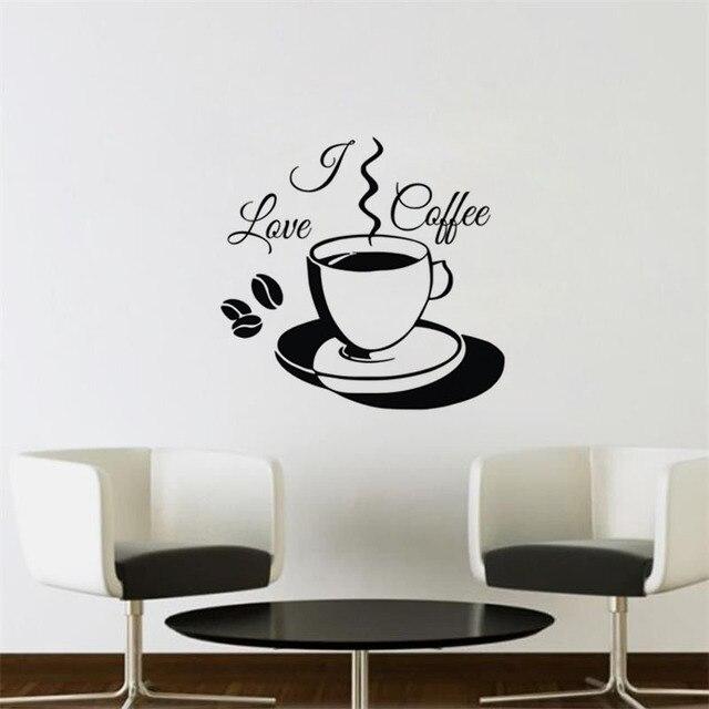 Ich Liebe Kaffee Wandaufkleber Dekoration Für Haus Vinyl Kunst