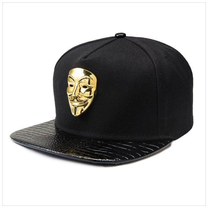 Souvenir Edition V For Vendetta Mask Flat Brim Cap Cotton Leather Adjustable Hat Snapback Gorras Hip Hop Men Women Baseball Cap