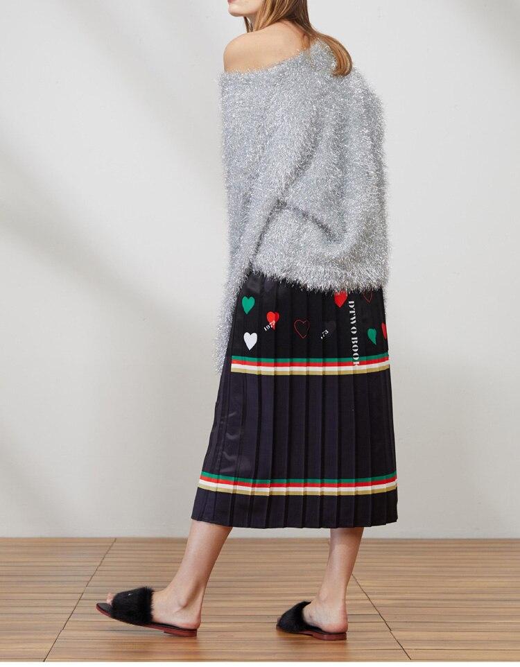 Estilo Del 2018 Elegante Falda Imperio De Primavera Impresión Temperamento Mujer Amor Otoño Vintage Inglaterra Plisada Europa América paazrx