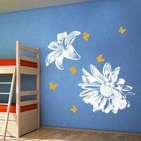 ดอกไม้รูปลอก-ดอกไม้ผนังสติ๊กเกอร์ลิลลี่และดอก