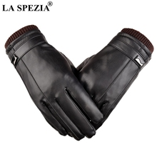 LA SPEZIA Black Leather Gloves Waterproof Bike Men Winter Thermal Touch Screen Thick Male PU Fleece Mittens High Quality