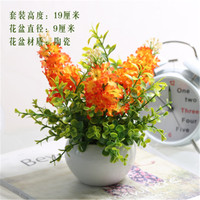 Mini Ceramic Potted Artificial Flowers Artificial Plants Home Hotel Wedding Office Garden Decoration Orange Lavender green plant