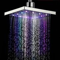 Led Colorful Light Emitting Top Spray Pressurized Water Saving Bathroom Shower Head Spray Square Shower Head Spray