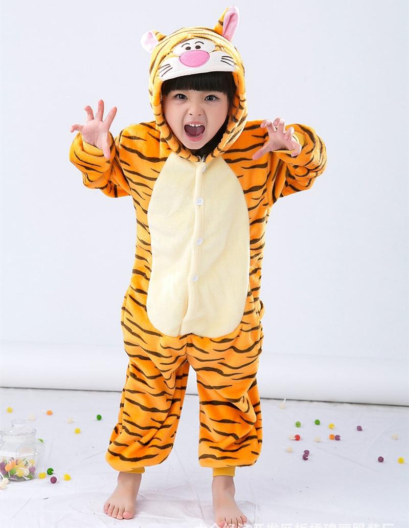 Cizgi filmi Heyvan Onesie Kostyum Tiger Uşaqlar üçün geyimlər, - Karnaval kostyumlar - Fotoqrafiya 2