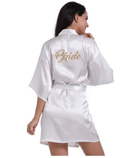 RB71 Fashio Bridal Party Robe Letter Bride on the Robe Back Women Short Satin Wedding Kimono Sleepwear Spa Robes for Ladies