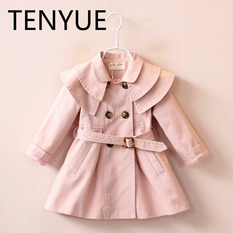 TENYUE, Children's Wear 2018 Autumn New Girls Receive The Waist Long Long Windbreaker Double-breasted Jacket single breasted self tie waist blouse