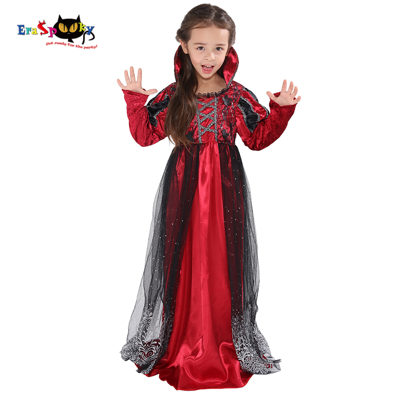 Costumes & Accessories Industrious Eraspooky Red Gothic Dress Girls Vampire Cosplay Halloween Costume For Kids Carnival Princess Medieval Lace Long Sleeve Dresses Volume Large