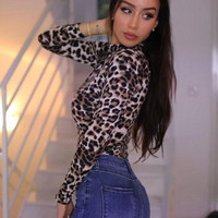 Leopard Printed Jumpsuit Women Turtleneck Short Bodysuit Women Sexy Bodycon Casual Slim Long Sleeve Rompers Top