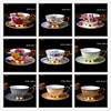 1Pcs Simple European Style Cappuccino Cup 210ml High Grade Hand Painted Flowers Ceramic Coffee Cups Coffee