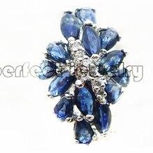 Кольцо из натурального сапфира 0.5ct* 14 шт драгоценных камней натуральный настоящий сапфир 925 стерлингового серебра ювелирные украшения# C190118007