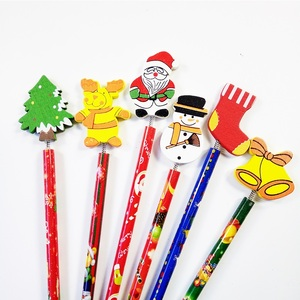 Image 5 - 60 Pcs/lot Merry Christmas Shape wooden Pencils Gift For Children Santa Claus Cartoon Wood Office Stationery School