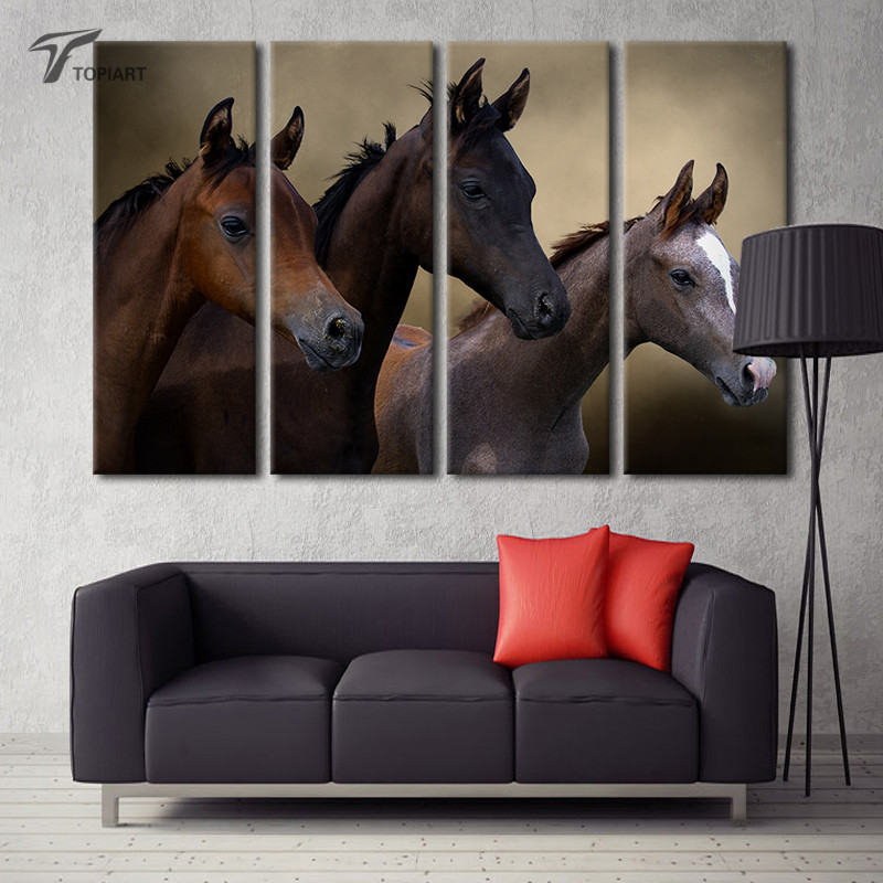 4 piece home decoration pictures black horse painting canvas wall art print extra large modern house decor printings no frame