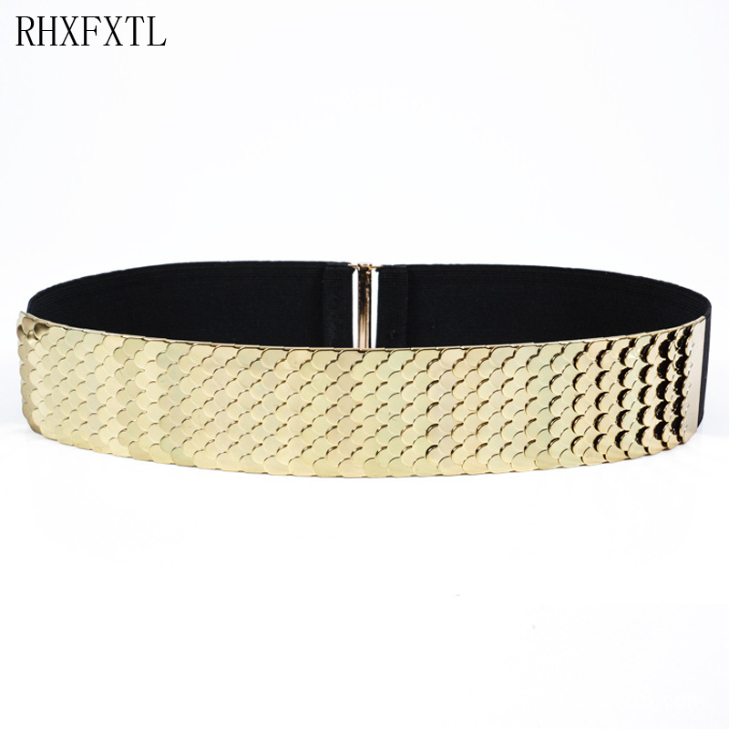 Fashion Metal Waist Elastic Band Belt Women Metal Girdle For Ladies Dresses Decoration Gold Silver Plated Belt Dresses Waistband