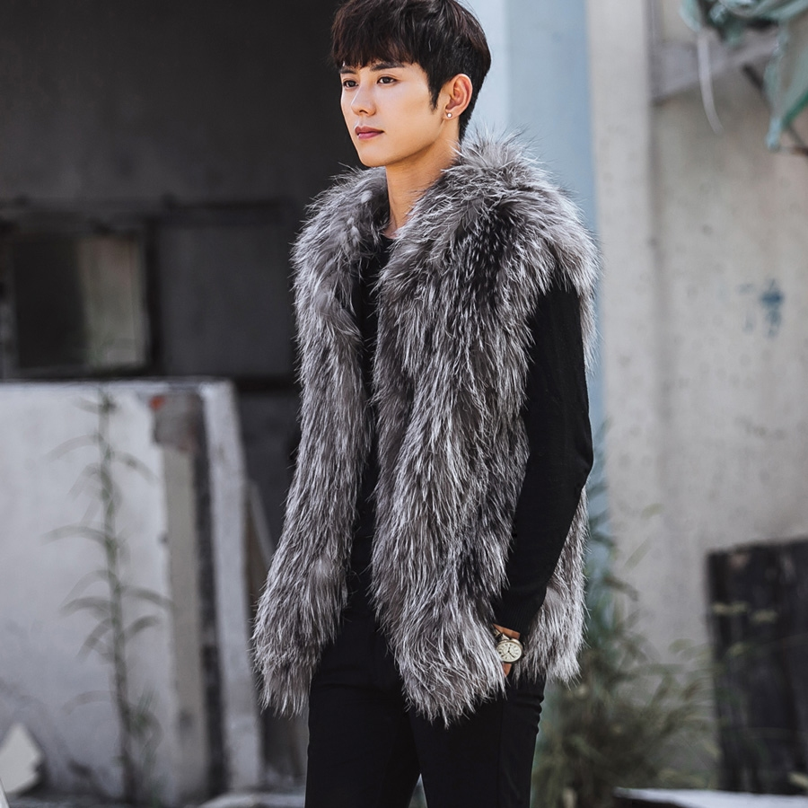 VR067 men's genuine real fox fur knitted vest vests winter warm real silver fox jacket /jackets with hooded