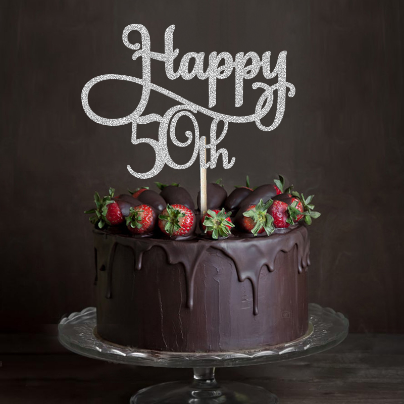 Superb Gold Silver Black Glitter Happy 50Th Cake Topper Fiftieth Birthday Personalised Birthday Cards Arneslily Jamesorg