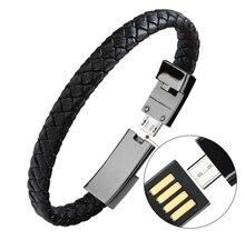 Плетеный браслет запястье Lightning Кабель Данных Зарядный Шнур для apple телефон, пояса из натуральной кожи зарядное устройство-браслет манжеты USB