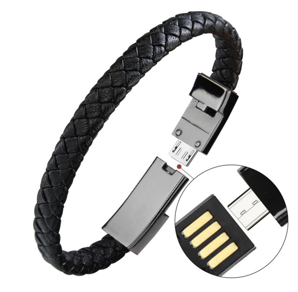 Trenzado pulsera rayo Cable de datos pulsera carga para apple Teléfono, cuero genuino pulsera brazalete USB