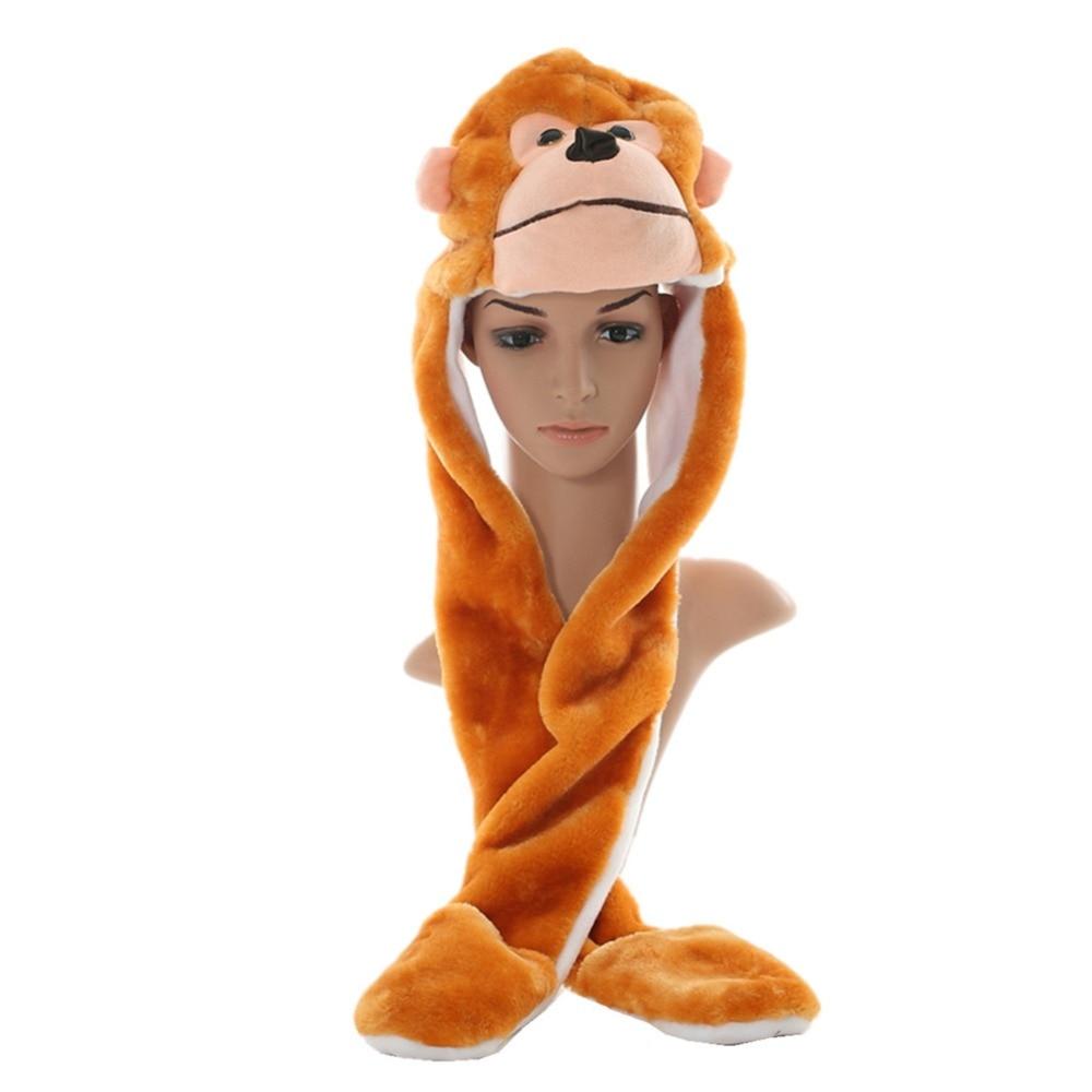 DOUBCHOW Unisex Adults Teenages Kids Boys Girls Cartoon Animal Beanie Hat Cute Yellow Monkey Plush Winter Warm Cap with Paw 2016