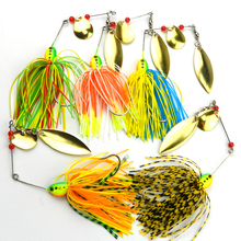 5Pcs Spinnerbait Metal Sequins Lures Silicone Skirt Jig Fishing Lure Wobbler Spinner Beard Tackle 16.3G