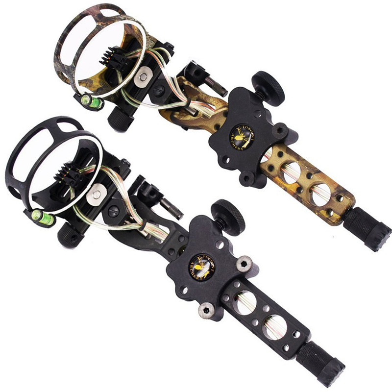 Archery Compound Bow Sight 5-Pin Fiber Optics Bow Sight General Long Rod Micro Tuning Sight Camouflage archery bow blue light led sight black 3 x l736