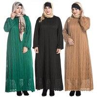 Long Sleeve Muslim Evening Dresses Lace Dress For Women Arab Robes Muslim Kaftan Islamic Clothing Ladies Lace Vestidos Y192