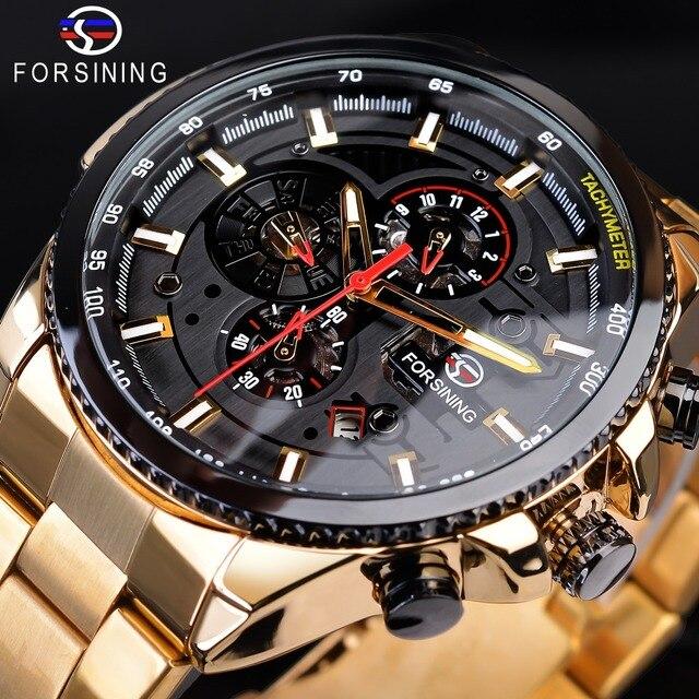 Forsining Steampunk Sport Serie Klassieke Zwarte Gouden Klok Mannelijke Compleet Kalender Mannen Automatische Horloges Top Merk Luxe