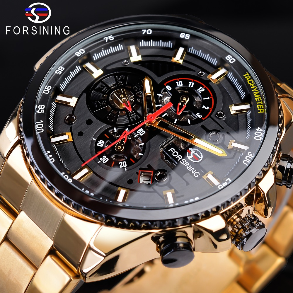 Forsining Steampunk Sport Series Classic Black Golden Clock Male Complete Calendar Mens Automatic Watches Top Brand LuxuryForsining Steampunk Sport Series Classic Black Golden Clock Male Complete Calendar Mens Automatic Watches Top Brand Luxury