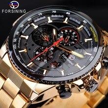 Forsining Steampunk Sport série classique noir doré horloge mâle complet calendrier hommes montres automatiques haut de gamme de luxe