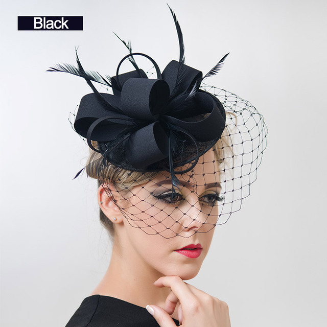 Donne libere di trasporto Fantasia Cappelli di Fascinator Della Piuma Nero  Birdcage Velo Bianco Da Sposa cad0a1e64c4